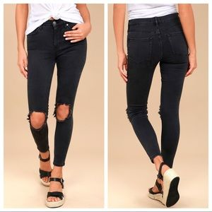 Free People Busted Knee Destroyed Skinny Jeans